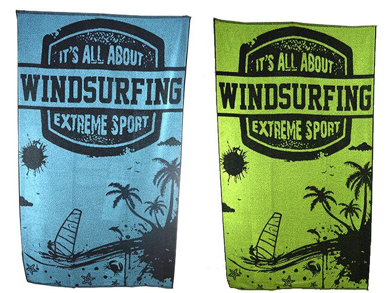 Toalla de playa 100% algodón 100x170 cm  con grabado de windsurfing