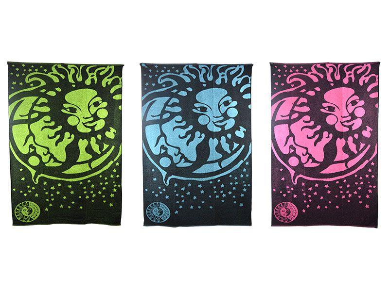 Toalla para playa 100x170cm elaborado con algodón de primera calidad con diseno de sol y luna en tres colores entre los que elegir