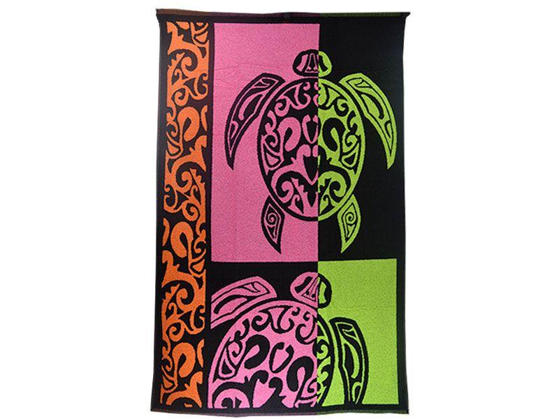 Toalla de playa o piscina 100x170 cm terciopelo de algodón de primera calidad con diseño de tortuga tribal colorida