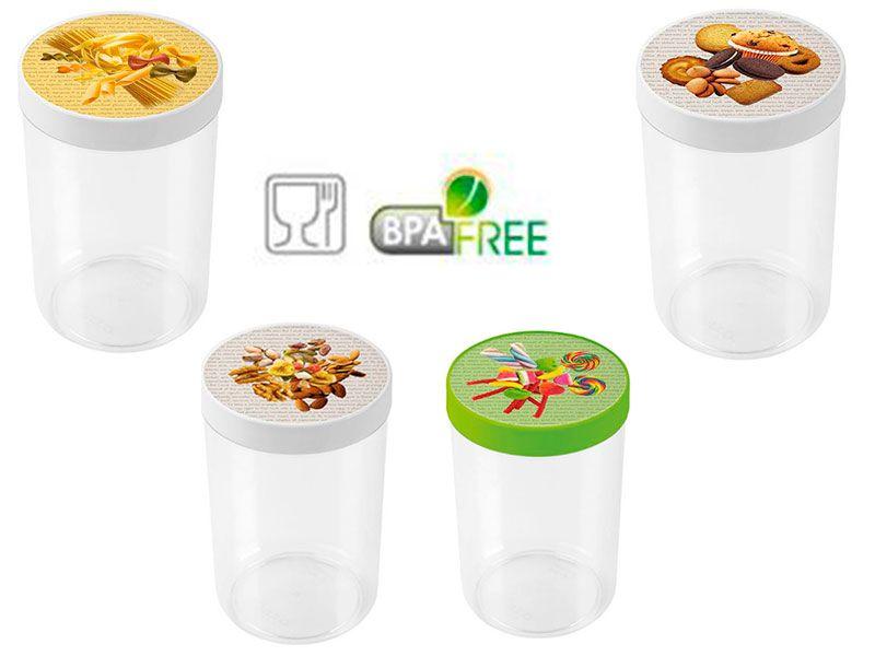 Tarro multiusos de 2.2 L  con tapa  de rosca y grabado de diferentes productos de alimentos