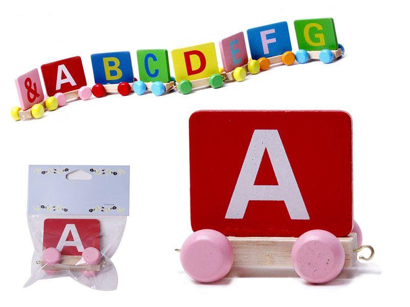 Vagon Tren Letra A realizado en Madera natural y con colores alegres para personalizar Nombre Personalizado Niño  Niña  Bebe