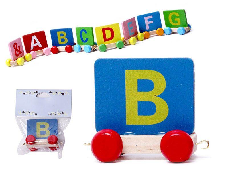 Vagon Tren Letra B realizado en Madera natural y con colores alegres para personalizar Nombre Personalizado Niño Niña Bebe