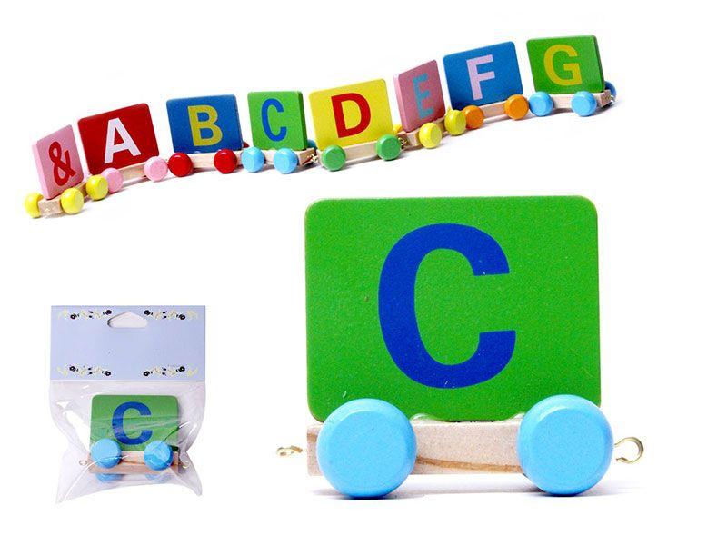 Vagon Tren Letra C realizado en Madera natural y con colores alegres para personalizar Nombre Personalizado Niño Niña Bebe