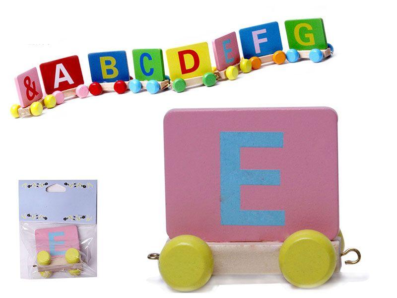 Vagon Tren Letra E realizado en Madera natural y con colores alegres para personalizar Nombre Personalizado Niño Niña Bebe