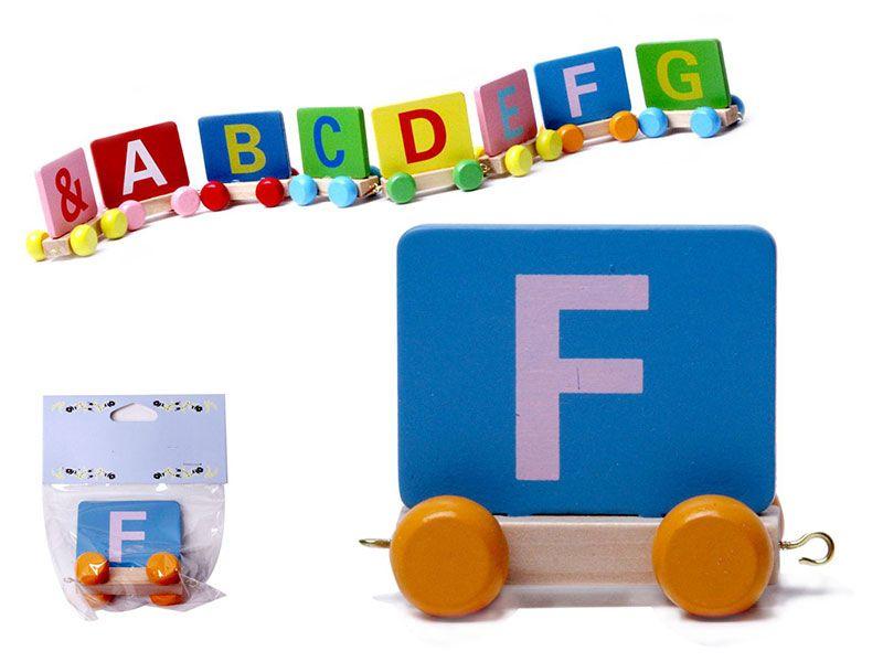 Vagon Tren Letra F realizado en Madera natural y con colores alegres para personalizar Nombre Personalizado Niño Niña Bebe