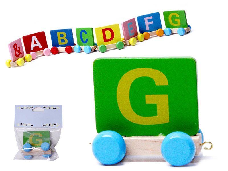 Vagon Tren Letra G realizado en Madera natural y con colores alegres para personalizar Nombre Personalizado Niño Niña Bebe