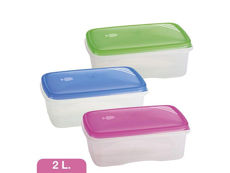Tupperware rectangular hermético 2 litros 3 colores