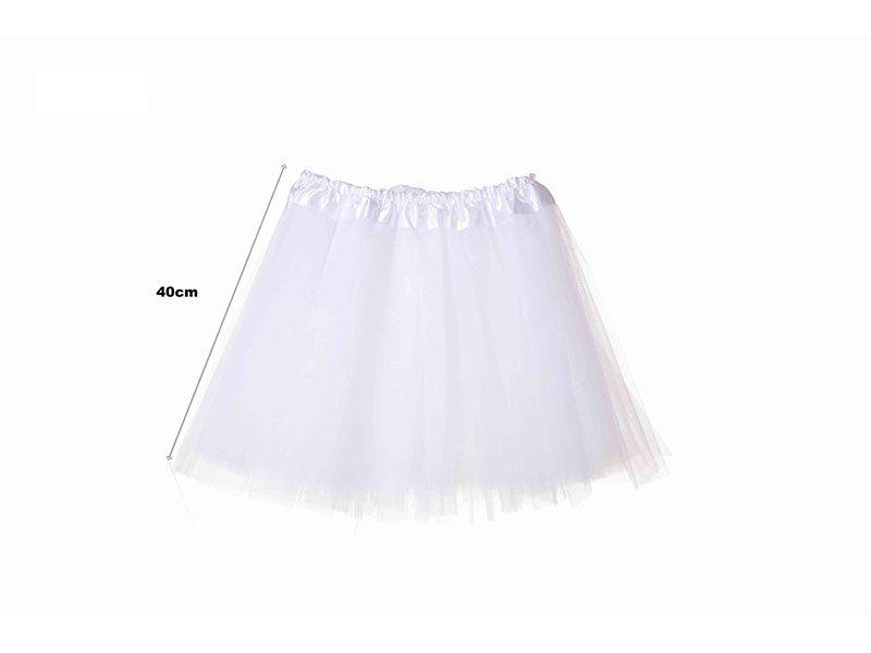 Tutu para adolescentes o adultos con tres capas de tul de color blanco liso y 40 cm de largo y hasta 52 cm de diámetro