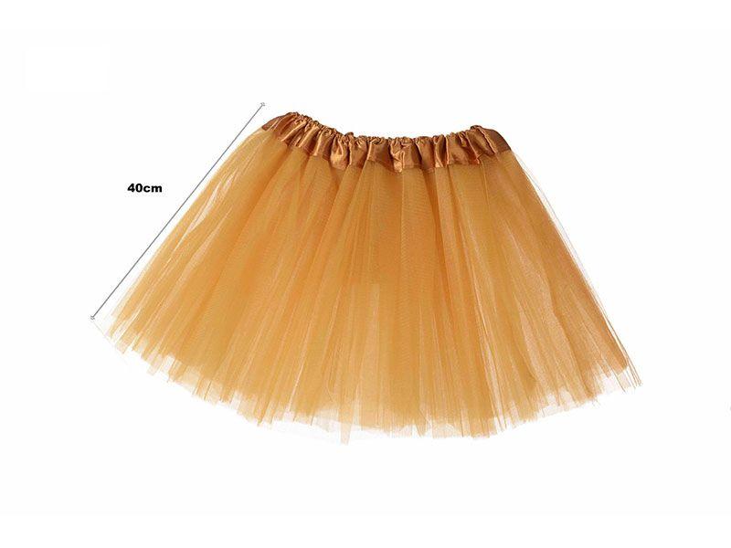 Tutu para adolescentes o adultos con tres capas de tul de color dorado  y 40 cm de largo y hasta 52 cm de diámetro