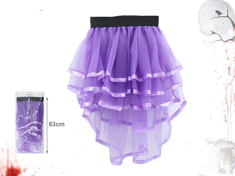 Tutú de fiesta para adolescentes o adultos de color morado y tela de tul transparente con 63 centímetros de longitud