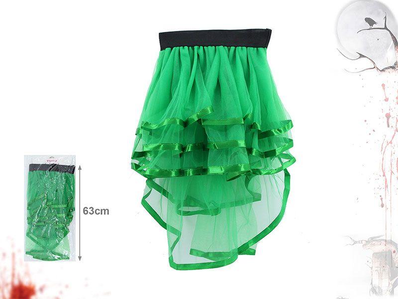 Tutú de fiesta para adolescentes o adultos de color verde ocuro y tela de tul transparente con 63 centímetros de longitud