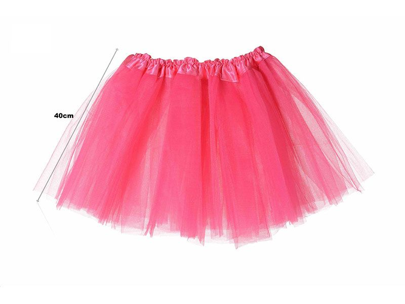 Tutu para adolescentes o adultos con tres capas de tul de color fucsia liso y 40 cm de largo y hasta 52 cm de diámetro