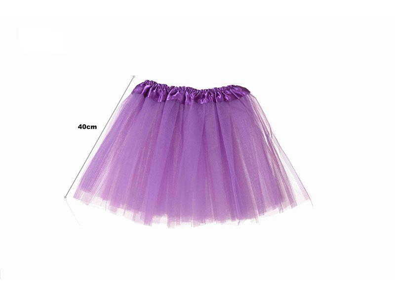 Tutu para adolescentes o adultos con tres capas de tul de color morado liso y 40 cm de largo y hasta 52 cm de diámetro