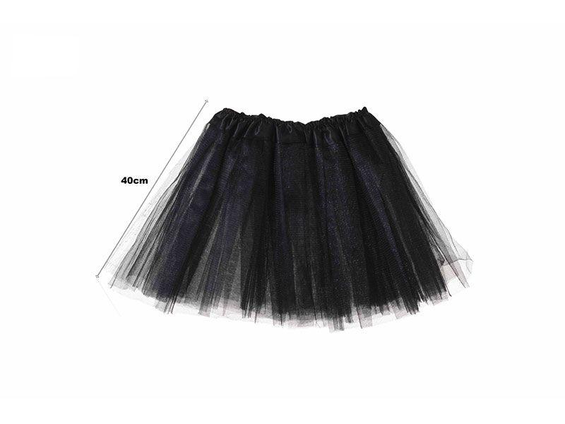Tutu para adolescentes o adultos con tres capas de tul de color negro liso y 40 cm de largo y hasta 52 cm de diámetro