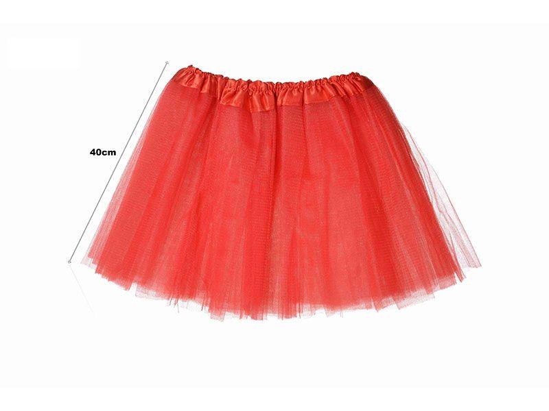 Tutu para adolescentes o adultos con tres capas de tul de color rojo liso y 40 cm de largo y hasta 52 cm de diámetro