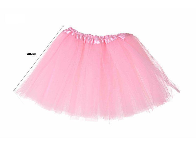 Tutu para adolescentes o adultos con tres capas de tul de color rosa liso y 40 cm de largo y hasta 52 cm de diámetro