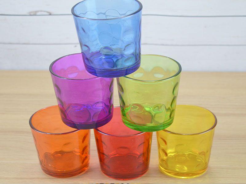 Set de 6 vasos de cristal de diferentes colores para agua - Vasos de colores ...