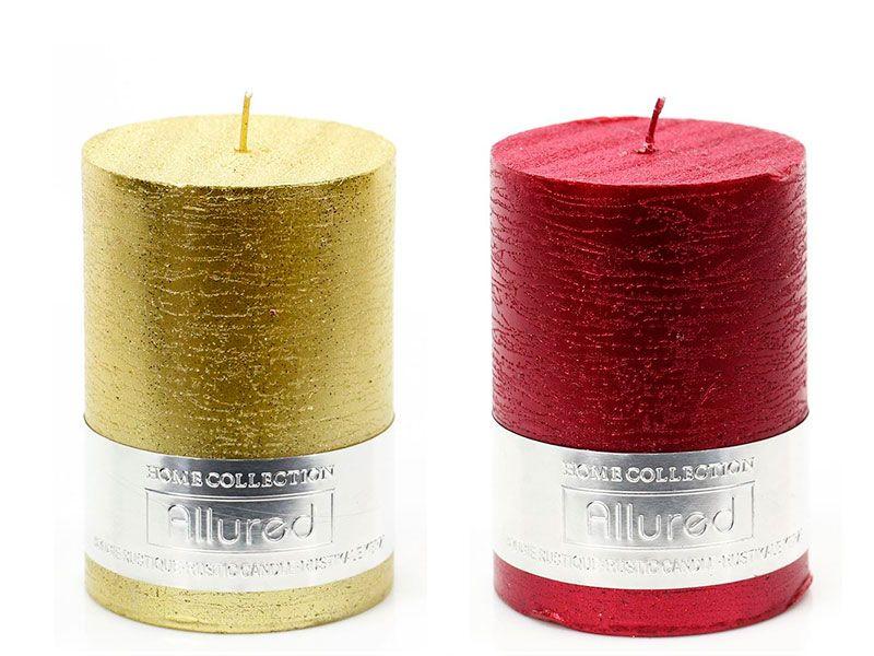 Velas cilindricas allure disponibles en dos colores metalizados de parafina para decoración navideña Christmas