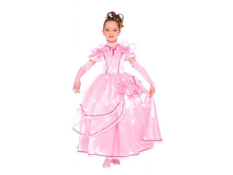 Vestido para disfraz de princesa rosa con flor en la cadera y mangas ...