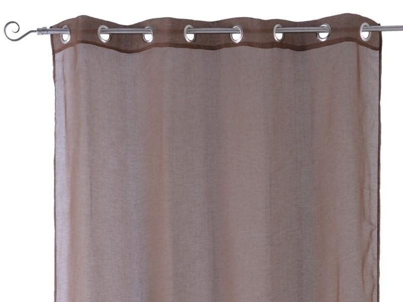 Visillos con anillas chocolate for Visillos confeccionados